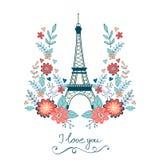 Begreppsförälskelsekort med Eiffeltorn och blom- Fotografering för Bildbyråer