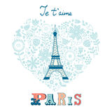Begreppsförälskelsekort med Eiffeltorn och blom- Royaltyfria Bilder