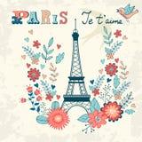 Begreppsförälskelsekort med Eiffeltorn och blom- Royaltyfri Foto
