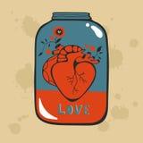 Begreppsförälskelsekort med hjärta i krus arkivbild