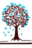 Begreppsförälskelseträd och miljö i tygtexturisolat på vit royaltyfria bilder