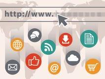 begreppsflygjordklotet exponerade illustrationinternetbärbar dator ut screen Royaltyfri Fotografi