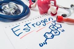 Begreppsfotoet av kvinnligt könsbestämmer hormonöstrogen och dess nivå i kropp Den utdragna kemiska formeln av östrogen ligger br Royaltyfri Bild