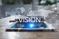 begreppshand för affärskvinna som 3d pekar visionord Affärs-, internet- och teknologibegrepp Fotografering för Bildbyråer