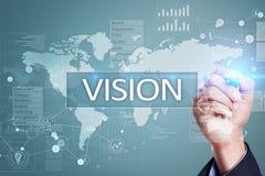 begreppshand för affärskvinna som 3d pekar visionord Affärs-, internet- och teknologibegrepp royaltyfri illustrationer