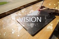 begreppshand för affärskvinna som 3d pekar visionord Affärs-, internet- och teknologibegrepp Arkivfoton