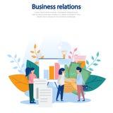 Begreppsillustration av affärsförhållanden, samarbete, inbringande avtal, affärsväxelverkan, förhållanden, vinst colo royaltyfri illustrationer