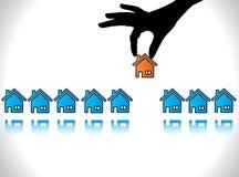 Begreppsillustration av hem- eller husköpande Royaltyfri Fotografi