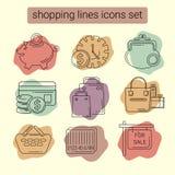 Begreppsillustration för websiten, symbol, emblem Linje symboler för vektordiagram på ett tema av shopping och finansen Royaltyfri Bild