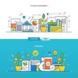 Begreppsillustration - investeringar, den finansiella ledningen stock illustrationer