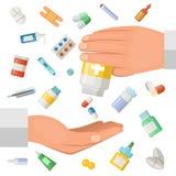 Begreppsillustration med händer av doktorn och några medicinska beståndsdelar Farmaceutiska preventivpillerar, droger royaltyfri illustrationer