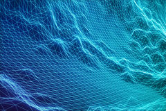 begreppsinternetuppkopplingar för illustration 3D, i molnberäkning Cyberspacelandskapraster teknologi 3d abstrakt blue Royaltyfria Bilder