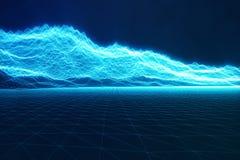 begreppsinternetuppkopplingar för illustration 3D, i molnberäkning Cyberspacelandskapraster teknologi 3d abstrakt blue Fotografering för Bildbyråer