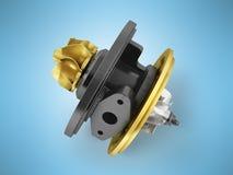 Begreppskassetten till turbinen på auto guld 3d framför på blått tillbaka Arkivbild