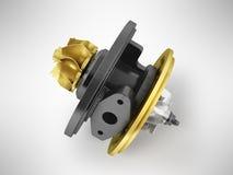 Begreppskassetten till turbinen på auto guld 3d framför på grå färger tillbaka Royaltyfria Bilder