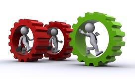 begreppskugghjul för affärsman 3d inom teamwork Arkivfoto