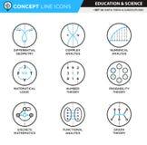 Begreppslinje matematik för symbolsuppsättning 14 Fotografering för Bildbyråer