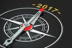 Begreppsmässig 2017 år kompass stock illustrationer