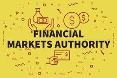 Begreppsmässig affärsillustration med ordfinansmarknaden royaltyfri illustrationer