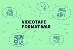 Begreppsmässig affärsillustration med ordvideobandformatet stock illustrationer