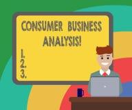 Begreppsmässig analys för affär för konsument för handhandstilvisning Affärsfoto som mot efterkrav ställer ut information på måle vektor illustrationer