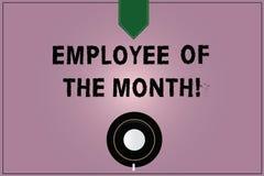 Begreppsmässig anställd för handhandstilvisning av månaden Erkännande för pris för belöning för affärsfototext för hårt bra vektor illustrationer