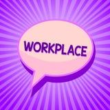 Begreppsmässig arbetsplats för handhandstilvisning Område för affärsfototext var du kan finna upptaget folk som gör deras anföran stock illustrationer