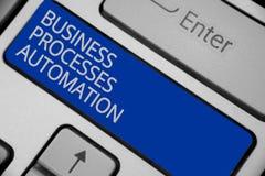 Begreppsmässig automation för processar för affär för handhandstilvisning Affärsfototext som utförs för att uppnå digital omformn Royaltyfria Bilder
