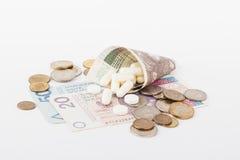 Begreppsmässig bild: få polerar zlotyen och lite preventivpillerar Fotografering för Bildbyråer