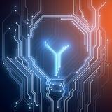 Begreppsmässig bild för bakgrund av den digitala chiplightbulben på blått Arkivbild