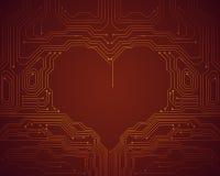 Begreppsmässig bild för bakgrund av det digitala hjärtasymbolet Arkivbilder