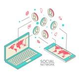 Begreppsmässig bild med sociala nätverk plant Fotografering för Bildbyråer