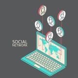 Begreppsmässig bild med sociala nätverk plant Royaltyfri Foto