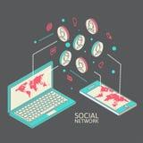 Begreppsmässig bild med sociala nätverk plant Royaltyfri Fotografi