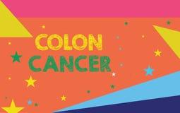 Begreppsmässig cancer för kolon för handhandstilvisning Affärsfoto som ställer ut cancer som bildar i silkespappren av den stora  stock illustrationer