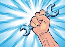 Begreppsmässig Cartooned hand med skiftnyckelhjälpmedlet Arkivbild