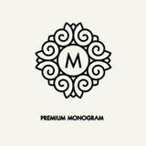 Begreppsmässig design för logo för mallvektorfyrkant och monogrambegrepp i moderiktig linjär stil, blom- emblem, emblem Fotografering för Bildbyråer