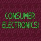 Begreppsmässig elektronik för konsument för handhandstilvisning Affärsfoto som ställer ut konsumenter för dagligt och nonco royaltyfri illustrationer