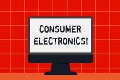 Begreppsmässig elektronik för konsument för handhandstilvisning Konsumenter för affärsfototext för dagliga och noncommercia vektor illustrationer