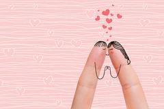 Begreppsmässig fingerkonst av ett lyckligt par Vänner är kyssande barn för kvinna för bildståendemateriel Fotografering för Bildbyråer