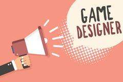 Begreppsmässig formgivare för lek för handhandstilvisning Affärsfoto som ställer ut förkämpePIXELet som skriver programmerarekons vektor illustrationer