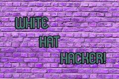 Begreppsmässig hand som skriver visa den White Hat en hacker Specialist för säkerhet för dator för affärsfototext sakkunnig i gen royaltyfri foto
