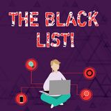 Begreppsmässig hand som skriver visa fotoet för TheBlack listaaffär som ställer ut listan av demonstratings som ogillas av royaltyfri illustrationer