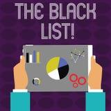 Begreppsmässig hand som skriver visa listan för text för foto för TheBlack listaaffär av demonstratings som ogillas av eller är stock illustrationer