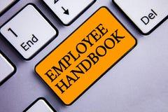 Begreppsmässig handbok för anställd för handhandstilvisning Kod Tex för politik för resehandbok för regler för reglemente för dok Arkivbild