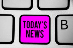 Begreppsmässig handhandstil som i dag visar s, är nyheterna Affärsfototext som bryter senast, rubricerar aktuella uppdateringar s royaltyfri fotografi