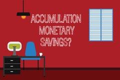 Begreppsmässig handhandstil som visar ackumulation monetära Savingsquestion Förhöjning för affärsfototext i finansiella tillgånga stock illustrationer