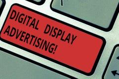 Begreppsmässig handhandstil som visar annonsering för Digital skärm Affärsfototext framför använda för kommersiellt meddelande vektor illustrationer