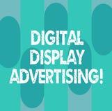 Begreppsmässig handhandstil som visar annonsering för Digital skärm Att ställa ut för affärsfoto framför ett kommersiellt meddela vektor illustrationer