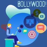 Begreppsmässig handhandstil som visar Bollywood Affärsfoto som ställer ut bion för underhållning för Hollywood filmfilm stock illustrationer